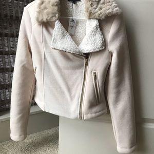 Express Jackets & Coats - Express fleece crop Moto jacket